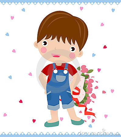 Boy with big rose