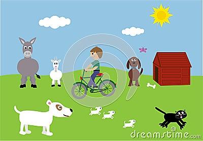 Boy On Bike & Cute Animals Vector Illustration