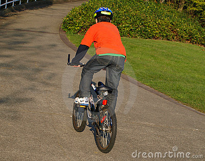 Boy on the bike with helmet