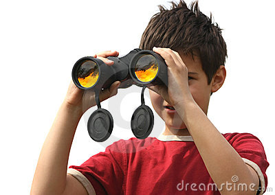 A boy with binoculars