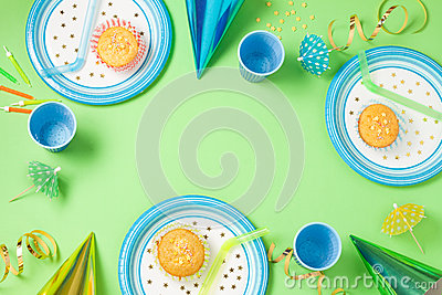 Boy birthday or party green table setting