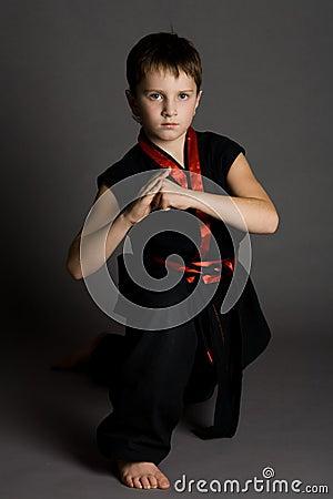 Boy in black kimono