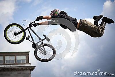 Boy on a bmx/mountain bike jumping Editorial Photography