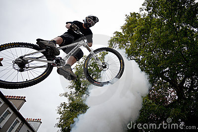 Boy on a bmx/mountain bike jumping Editorial Photography