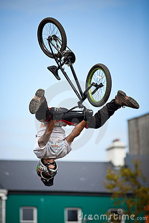 Boy on a bmx/mountain bike jumping Editorial Stock Photo
