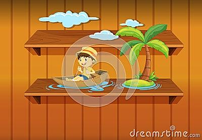 Boy boating on shelf