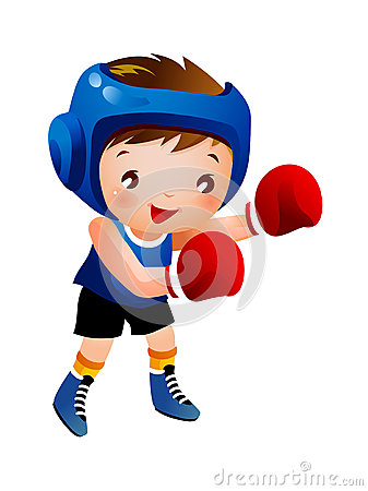 Boy with boxing glove
