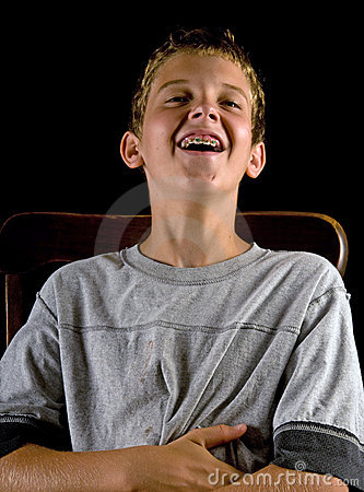 Boy with braces, laughing