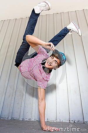 Boy breakdancing