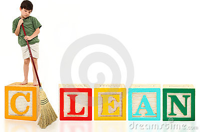 Boy with Broom Clean