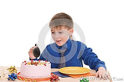 Boy with cake