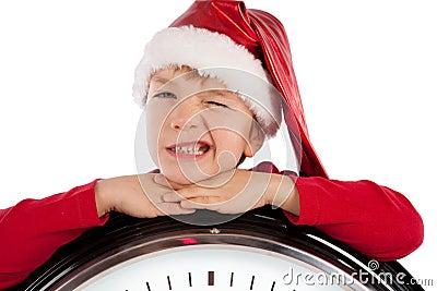 Boy in cap of Santa Claus
