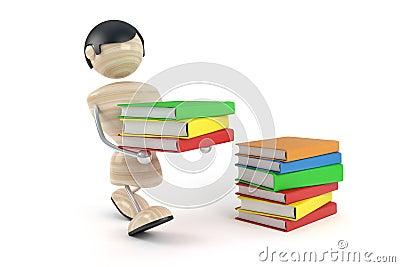 Boy carry pile books
