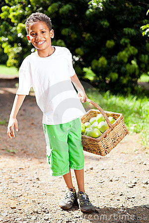 Boy carrying apples