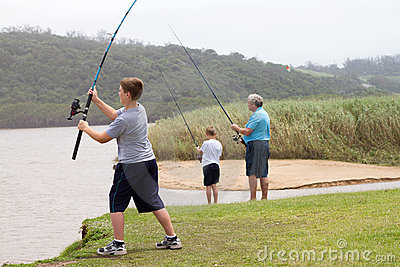 Boy Casting Fishing Rod Royalty Free Stock Photo - Image: 22164485