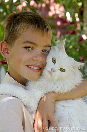 Boy with a cat