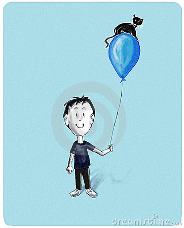 Boy with cat on baloon