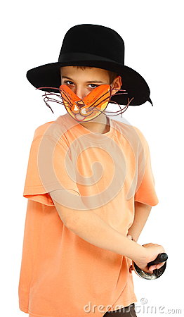 Boy with cat-mask