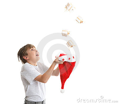 Boy catching Christmas present