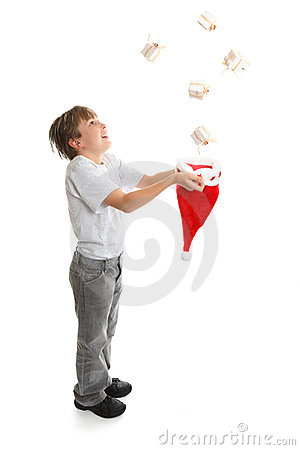 Boy catching presents