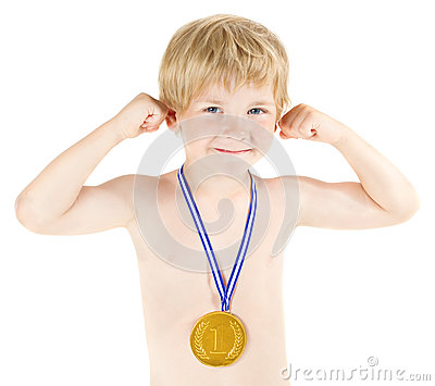 Boy champion with golden medal. Hands raised up