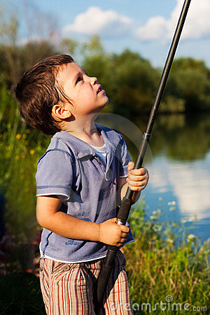 Boy checking rod