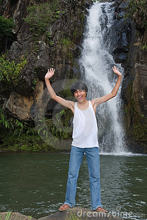 Free Boy Cheering At Waterfall Royalty Free Stock Photo - 11039755