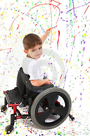 Free Boy Child Painting Wheelchair Disability Royalty Free Stock Photography - 17030587