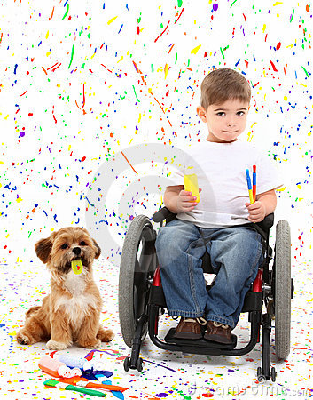 Free Boy Child Painting Wheelchair With Dog Royalty Free Stock Images - 17058089