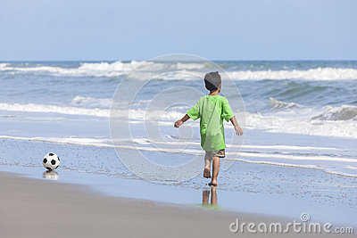 Boy Child Running Beach Playing Football Soccer