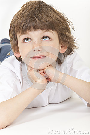 Free Boy Child Thinking Looking Up Royalty Free Stock Photo - 30992515