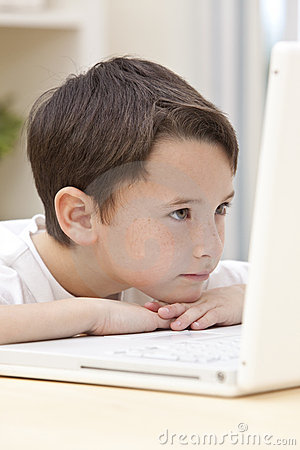 Boy Child Using Laptop Computer