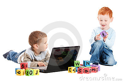 Boy children class with computer and kids alphabet