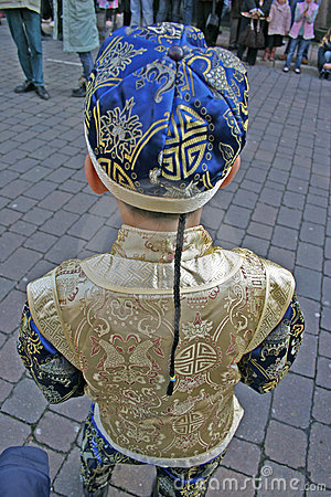 Boy in Chinese Outfit Waiting for New Year Celebrations Editorial Image
