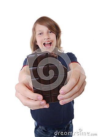 Boy with chocolate