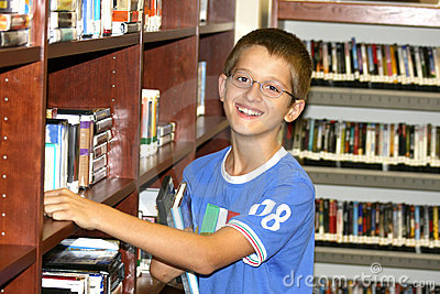 Boy choosing a book