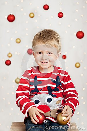 Boy with christmas balls