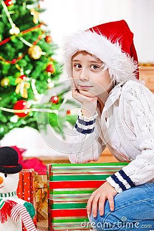 Boy in Christmas hat