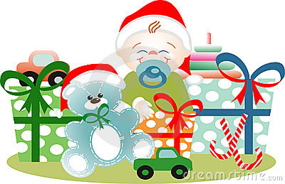Boy in Christmas yet its gifts