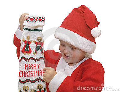 Boy with Christmas stocking