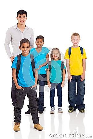 Boy classmates teacher
