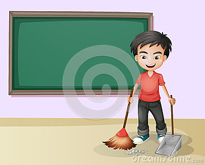 Boy Cleaning Stock Vector Image 43387398