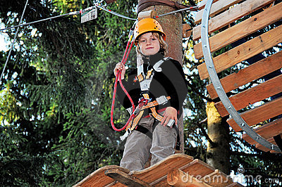 Boy in a climbing facility