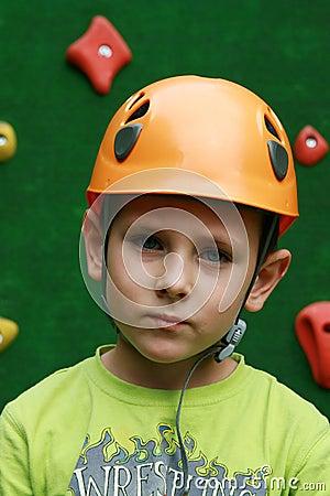 Boy and a climbing wall