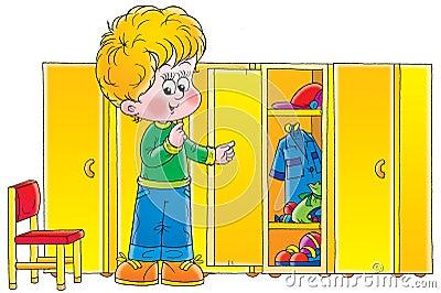 Boy in cloakroom