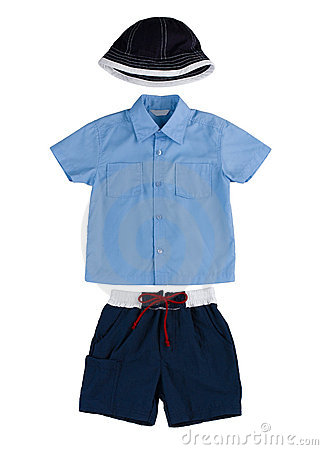 Boy clothing hat t shirt and short pants