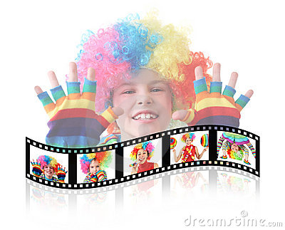 Boy in clown dress somersault isolated