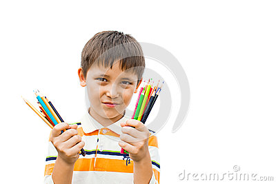Boy with colored pencils