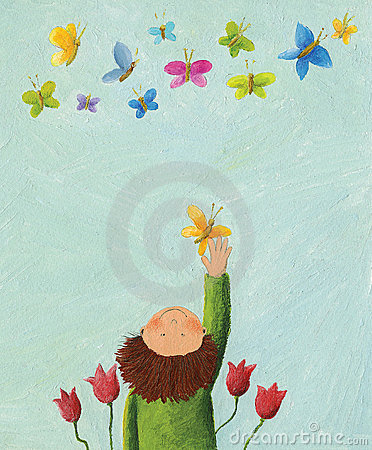 Boy and colorful butterflies