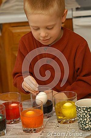 Boy Coloring Eggs